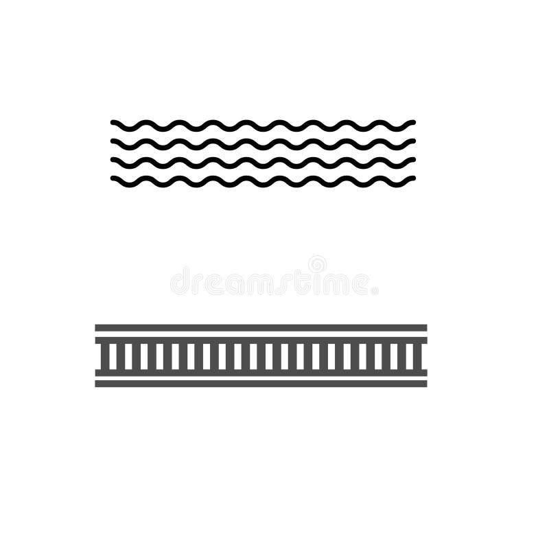 黑简单的平的海和铁路在白色背景隔绝的路标 库存例证