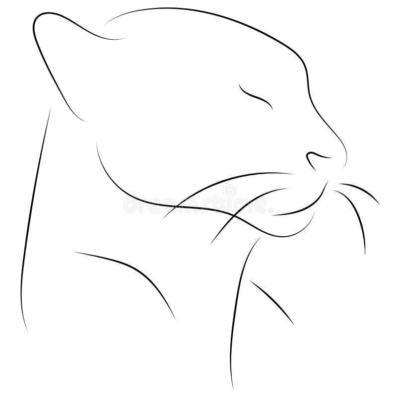 黑线在白色背景的猫头 手图画传染媒介gra 向量例证