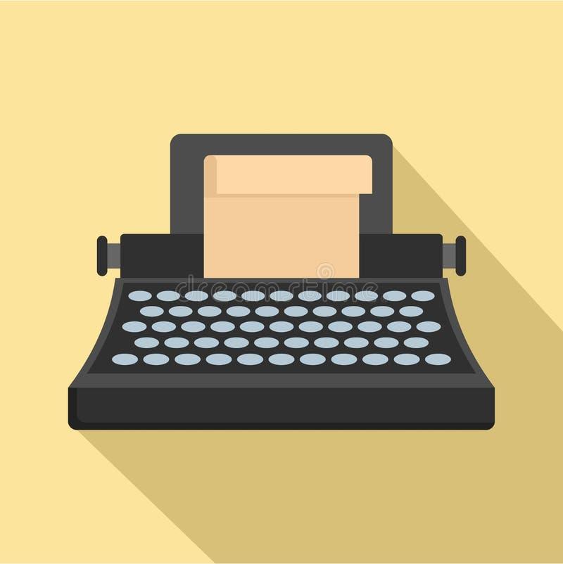 黑经典打字机象,平的样式 向量例证