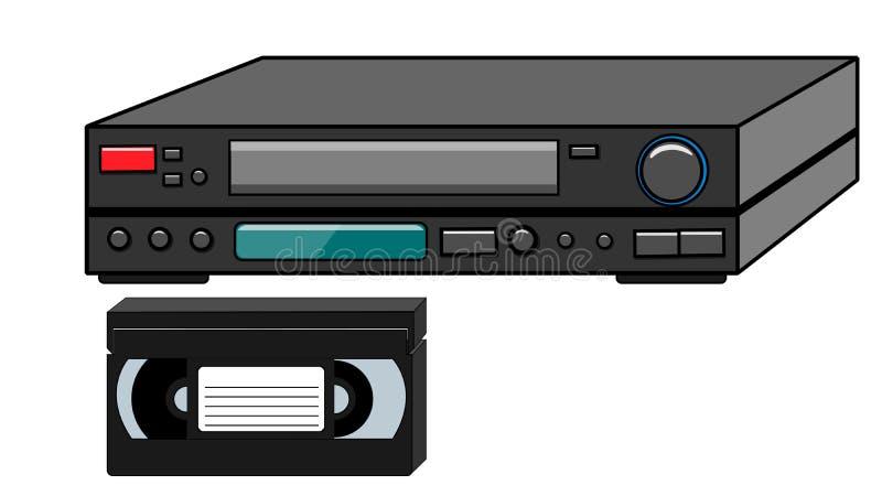黑老观看的电影的葡萄酒容量减速火箭的行家古董录影机和录象带,从80 ` s, 90的录影 向量例证