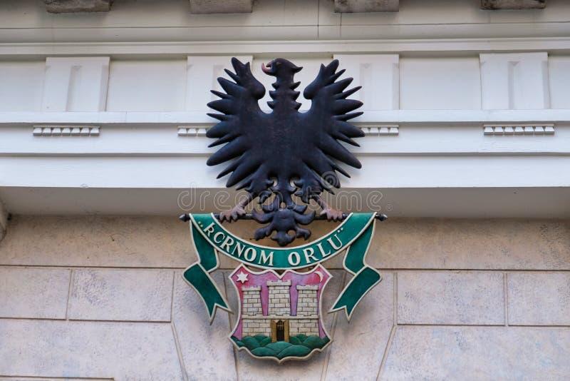 黑老鹰和萨格勒布徽章,克罗地亚 免版税库存图片