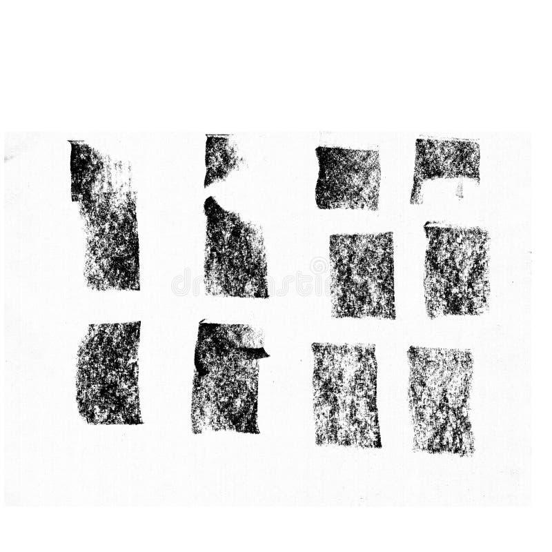 黑聚焦条纹,横幅画与白垩,石墨铅笔 设计的时髦的聚焦元素 皇族释放例证