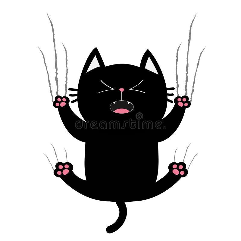 黑肥胖猫钉子爪抓痕玻璃 尖叫的小猫 逗人喜爱的倒下动画片滑稽的字符 严厉指责轨道线形 库存例证
