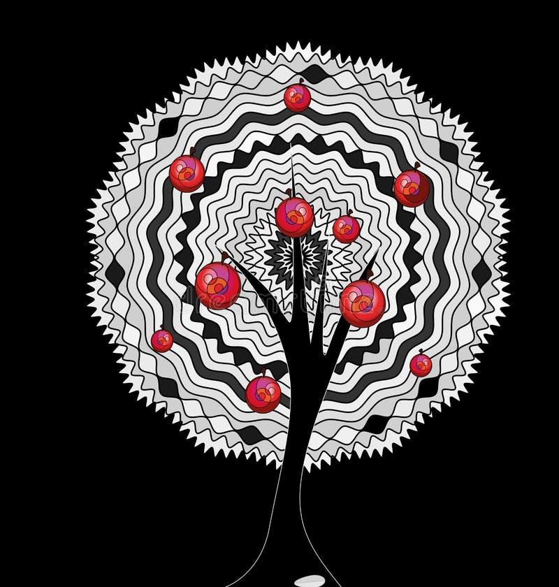 黑背景和抽象白色苹果树 库存例证