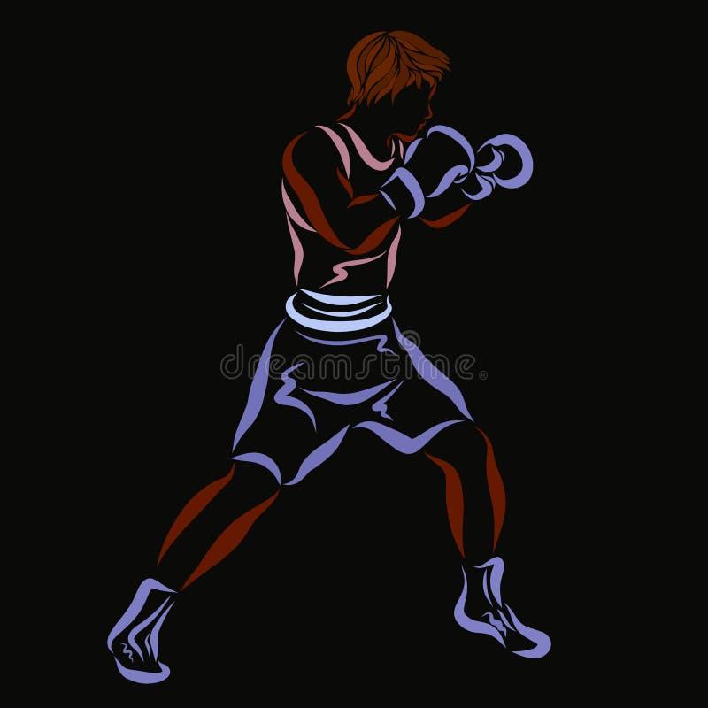 黑背景的年轻坚强的拳击手 向量例证