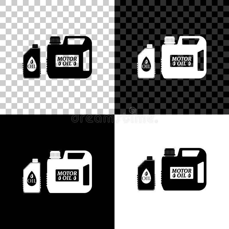 黑色、白色和透明背景上隔离的机油图标用塑料罐 油加仑 石油变化 皇族释放例证