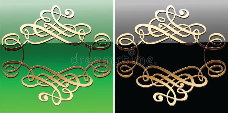 黑色书法弯曲金子绿色 向量例证