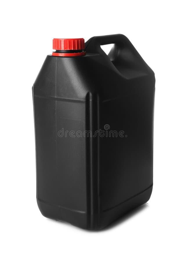 黑色五加仑装之汽油罐塑料 免版税图库摄影
