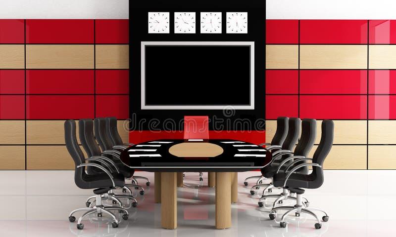 黑色会议红色空间 库存例证