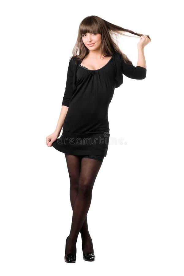 黑色俏丽的妇女年轻人 免版税库存图片