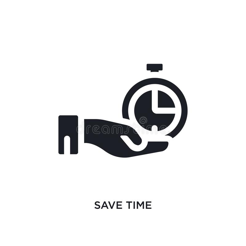 黑色保存时间被隔绝的传染媒介象 从时间管理概念传染媒介象的简单的元素例证 编辑可能保存的时间 向量例证