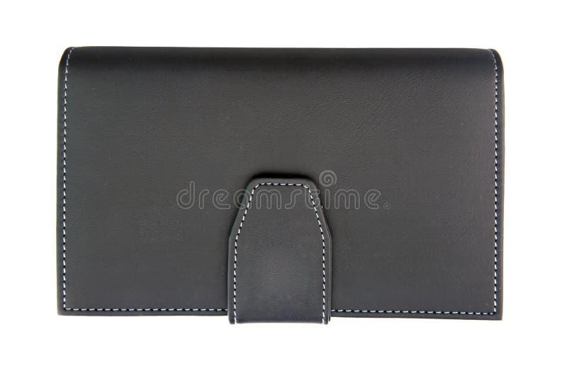 黑色假皮革笔记本 免版税库存照片