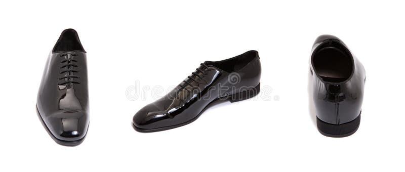 黑色光滑的皮革人鞋子 库存图片