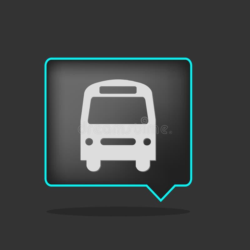 黑色公共汽车图标氖 库存例证