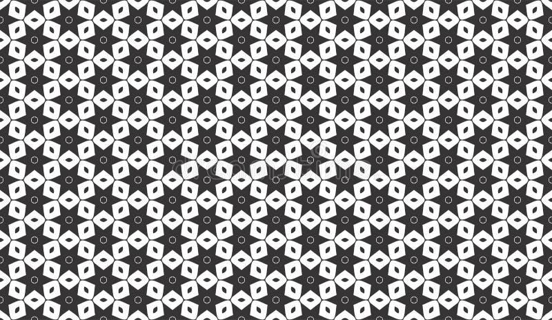 黑色几何模式无缝的白色 皇族释放例证