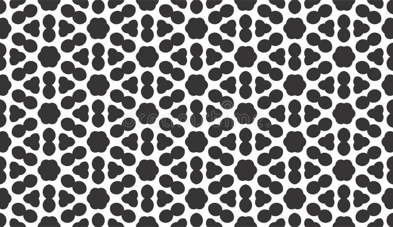 黑色几何模式无缝的白色 向量例证