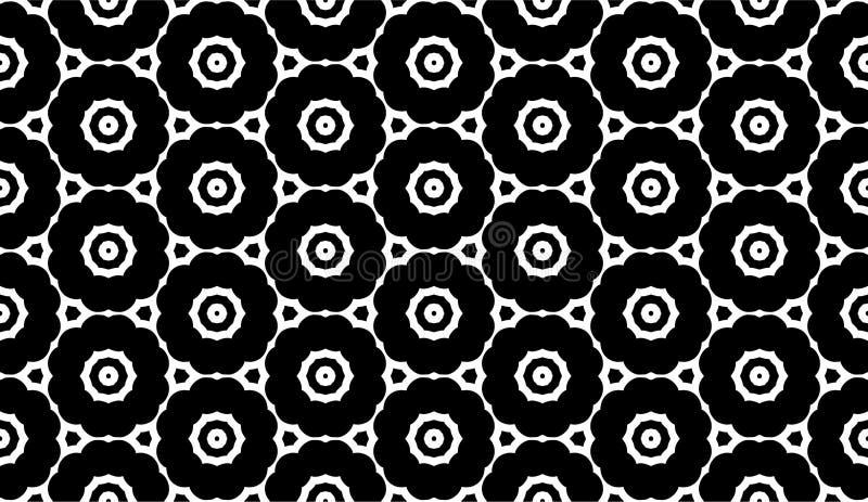 黑色几何模式无缝的白色 库存例证