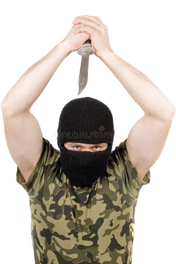 黑色凶手刀子屏蔽 库存照片