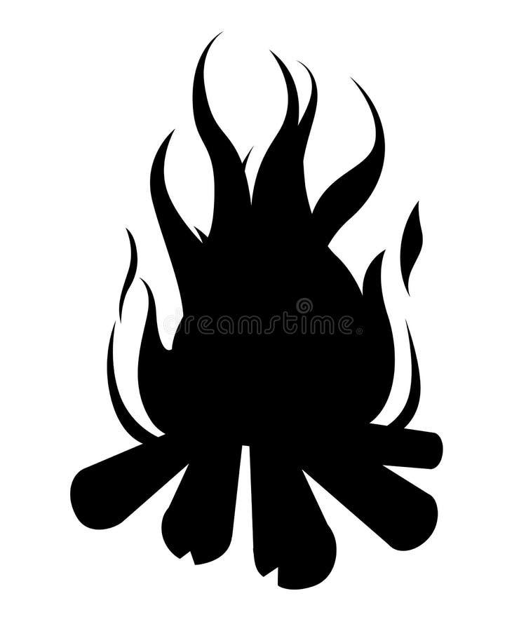 黑色剪影 与木头的灼烧的篝火 传染媒介动画片篝火的样式例证 背景查出的白色 向量例证