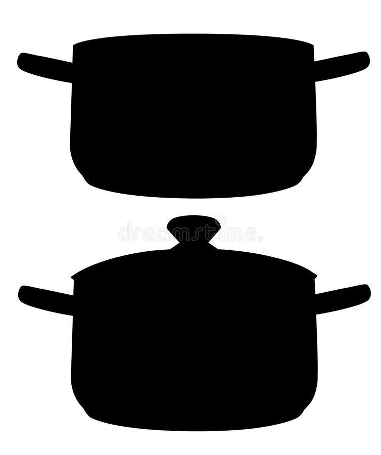 黑色剪影 两个烹调平底锅 开放和接近的平底锅 在空白背景查出的向量例证 库存例证