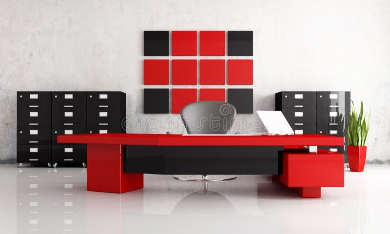 黑色办公室安排红色 向量例证