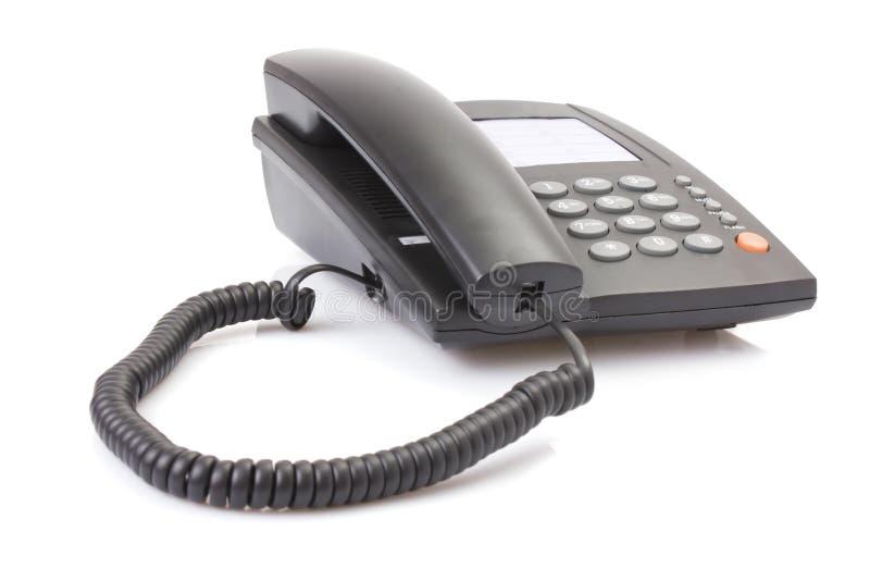 黑色办公室电话 免版税库存图片