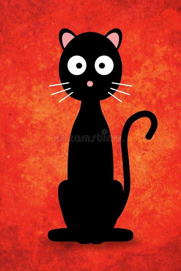 黑色动画片猫 库存例证