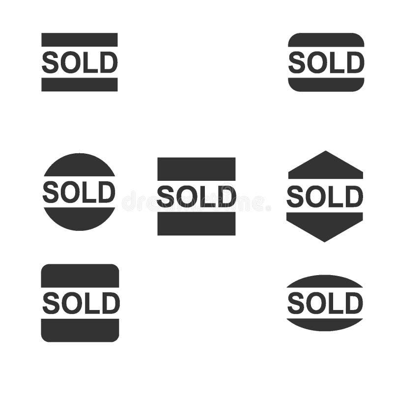 黑色卖了贴纸汇集 免版税库存图片