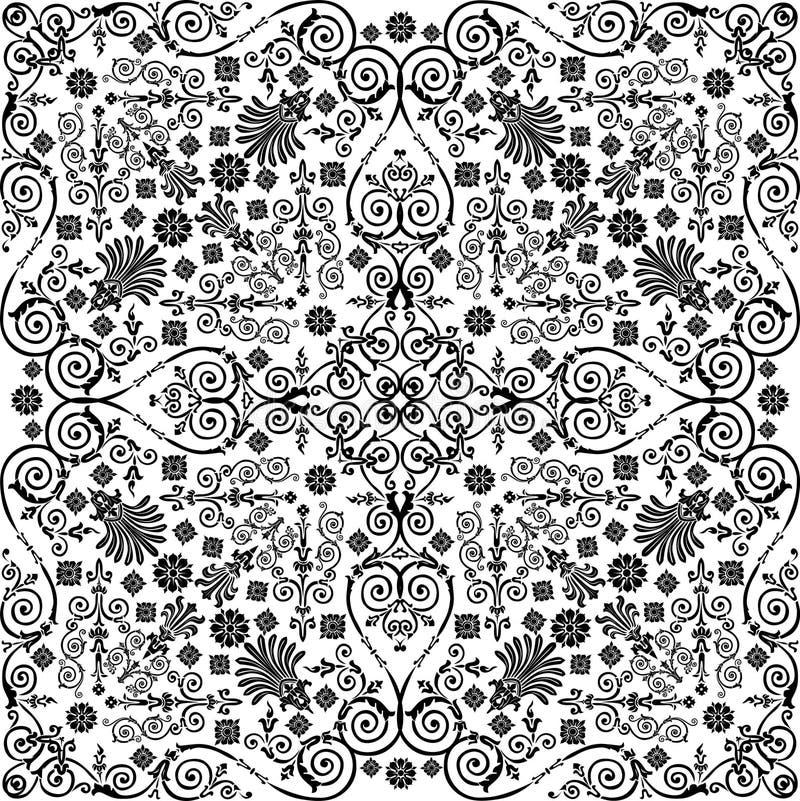 黑色卷曲的模式对称传统 向量例证