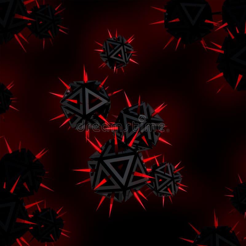 黑色反对红色锐利峰值威胁病毒 皇族释放例证