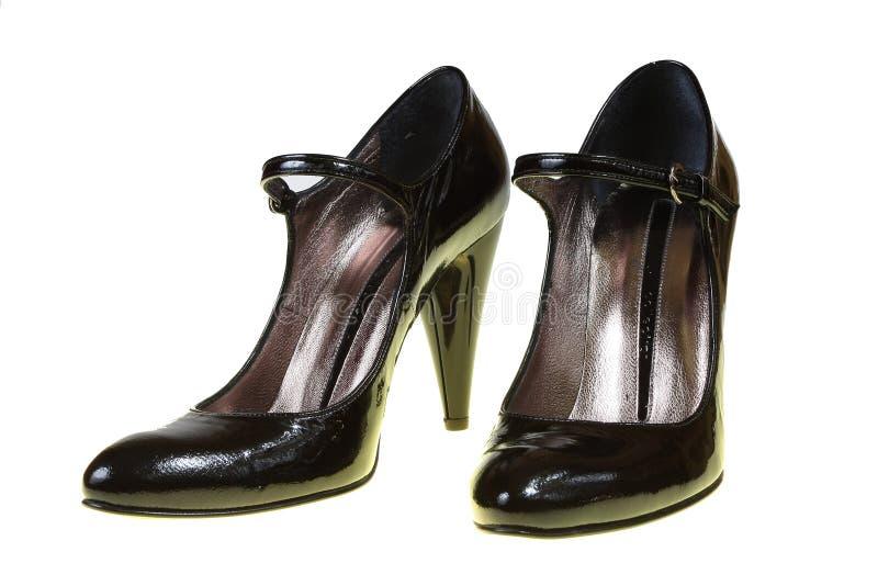 黑色古典s穿上鞋子妇女 免版税库存照片