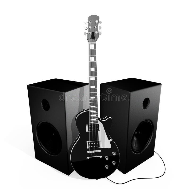 黑色吉他岩石报告人 库存例证