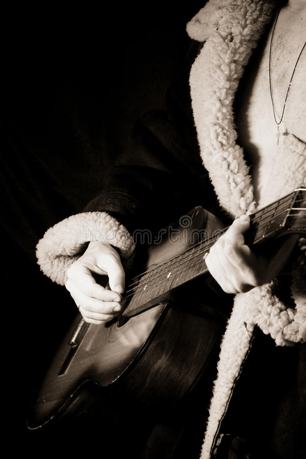黑色吉他白色 图库摄影