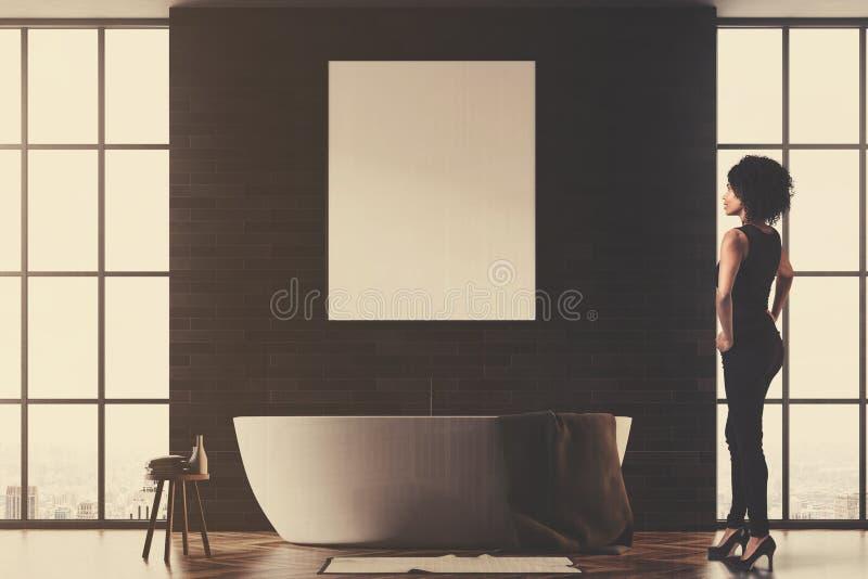 黑色和砖卫生间,被定调子的海报 皇族释放例证