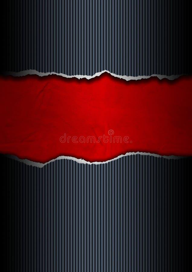 黑色和红色被剥去的纸张 向量例证
