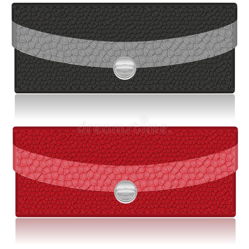 黑色和红色钱包由皮革制成 库存例证