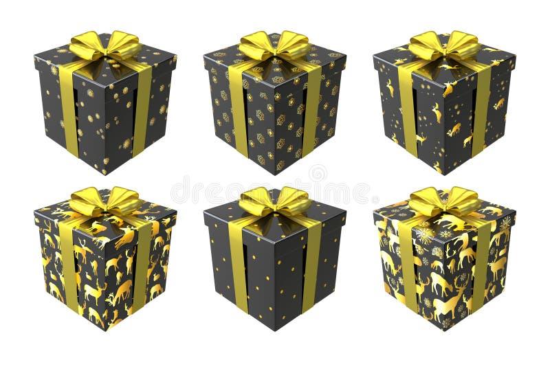 黑色和金在与金弓和丝带的白色背景隔绝的礼物盒 皇族释放例证