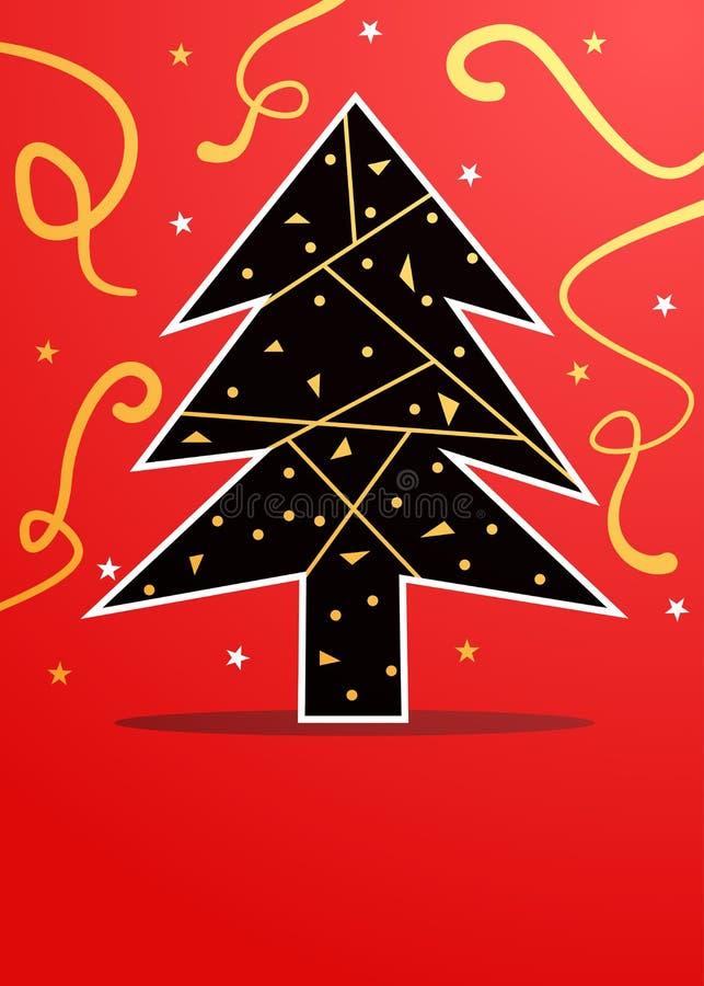 黑色和金子圣诞树在红色背景 皇族释放例证