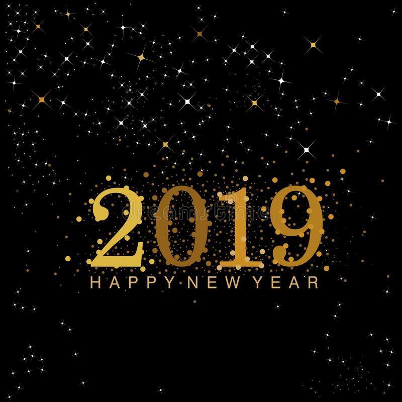 黑色和金子2019个新年数字 库存例证