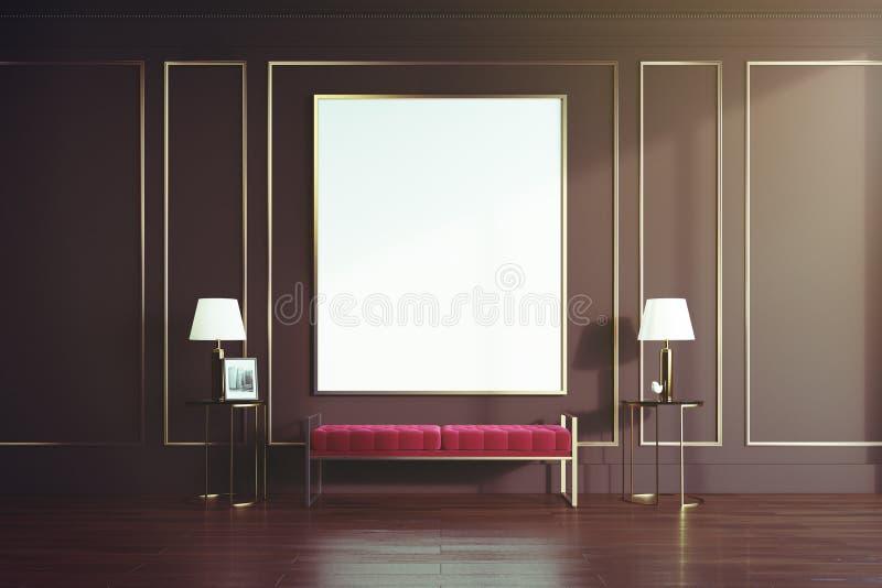 黑色和金客厅,被定调子的红色长凳 向量例证