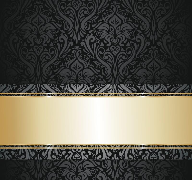 黑色和金葡萄酒墙纸 库存例证