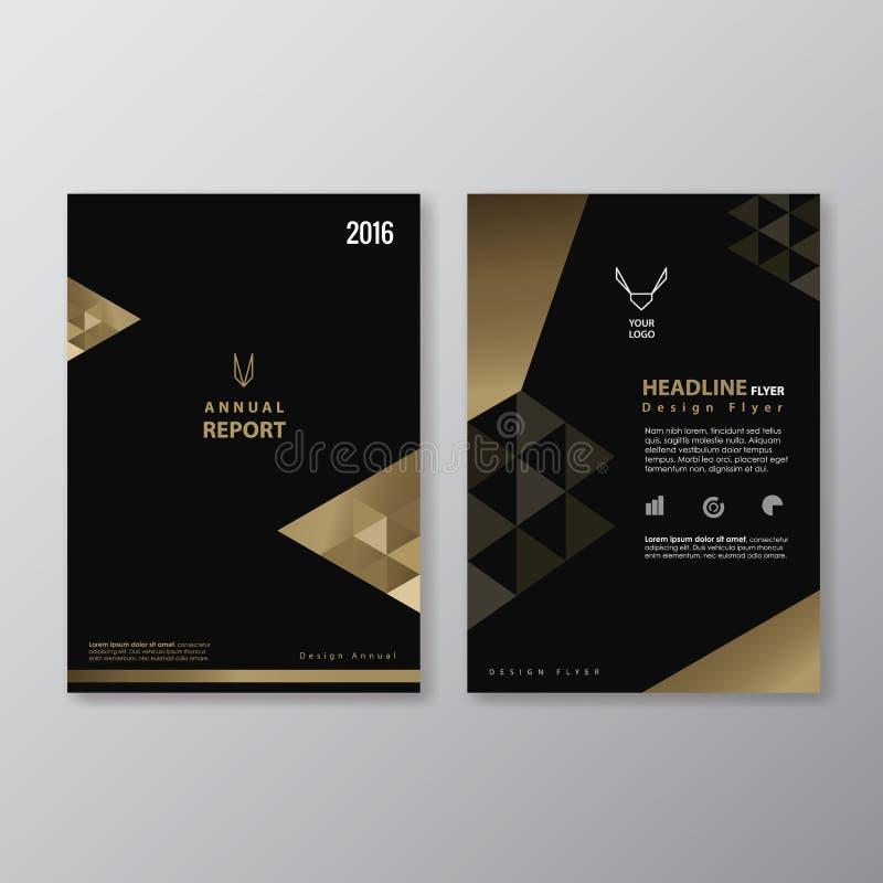 黑色和金飞行物设计葡萄酒抽象三角形状Layo 向量例证