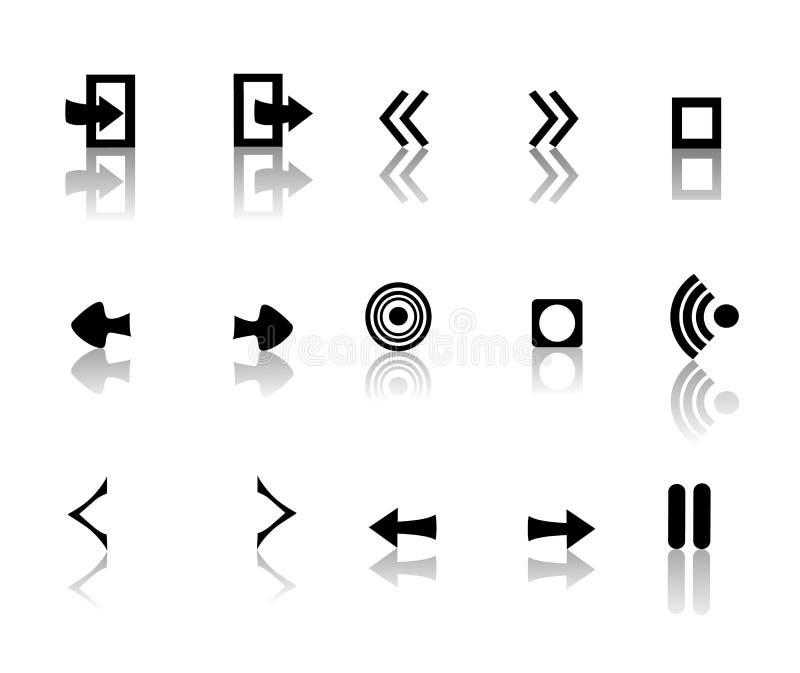 黑色图标反射性白色 向量例证