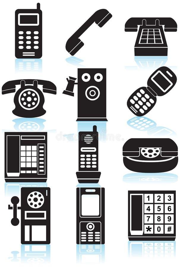 黑色图标电话机白色 向量例证