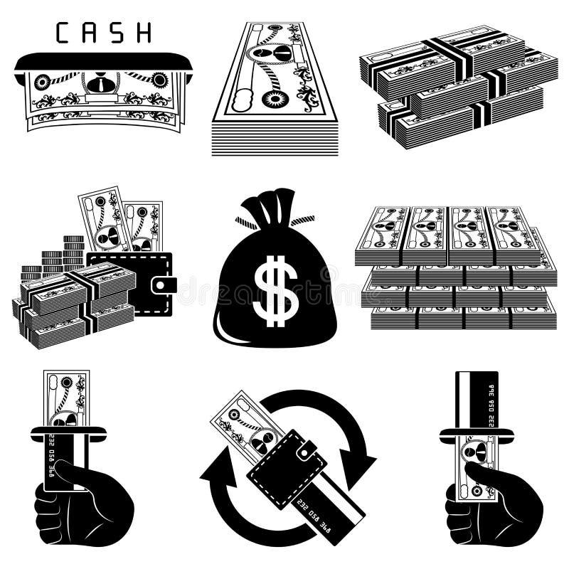 黑色图标货币集合白色 向量例证