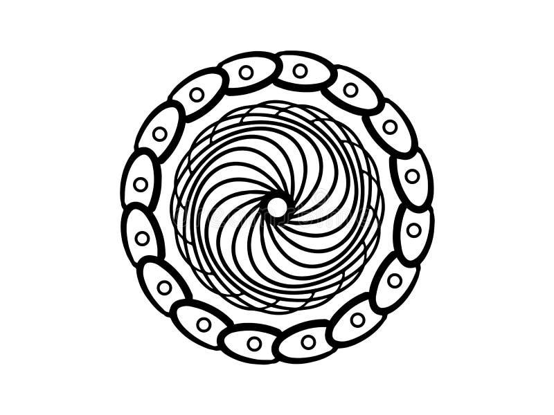 黑色在白色背景的被集中的坛场 简单的手拉的坛场传染媒介 圆的邮票模板 向量例证