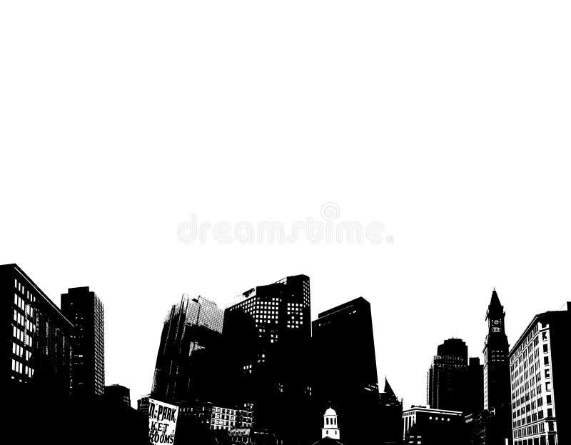 黑色城市地平线白色 皇族释放例证