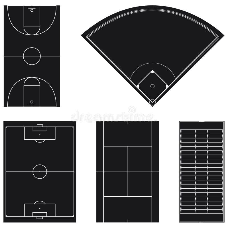 黑色域五格式普遍的体育运动 库存例证