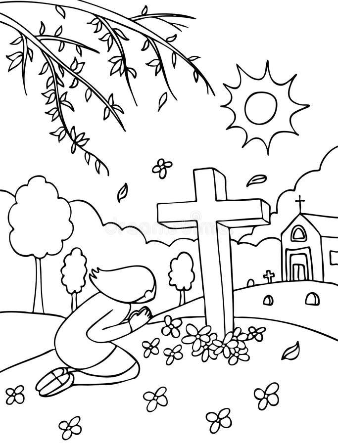 黑色墓地祈祷的白色 库存例证