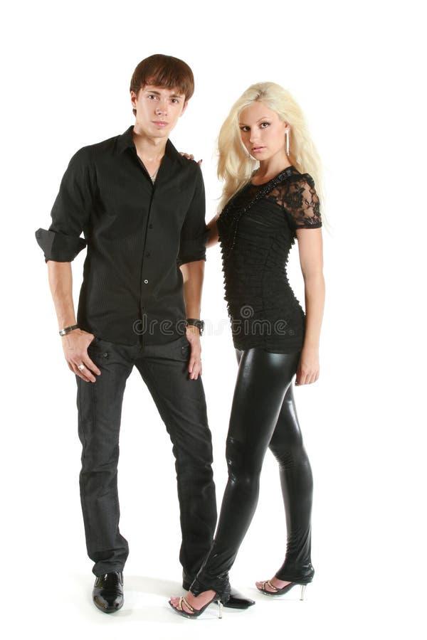 黑色夫妇愉快的纵向衬衣 库存图片